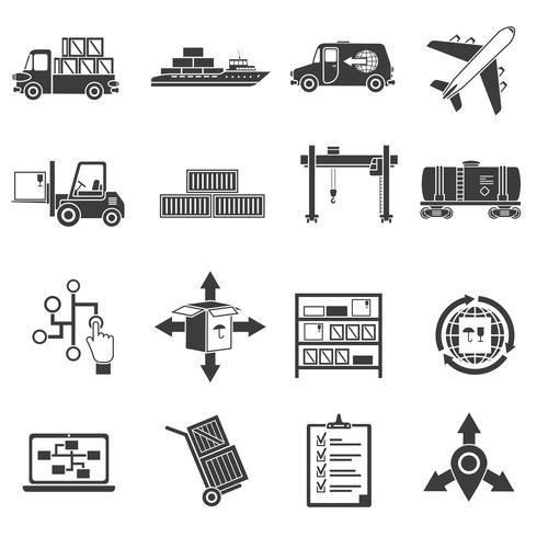 Logistische schwarze Icons Set vektor