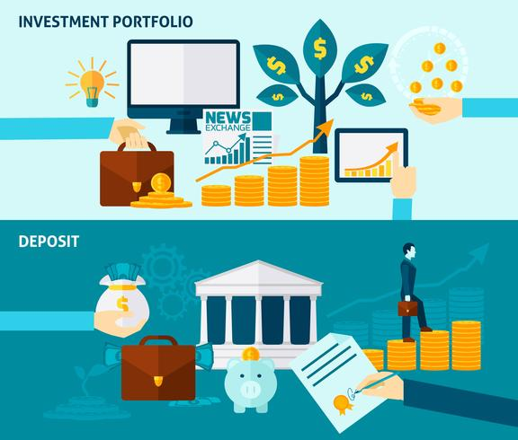 investering platt banner set vektor