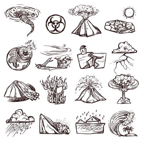 Naturkatastrof skiss ikonuppsättning vektor