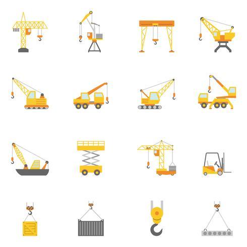 Byggande kran platt ikoner uppsättning vektor