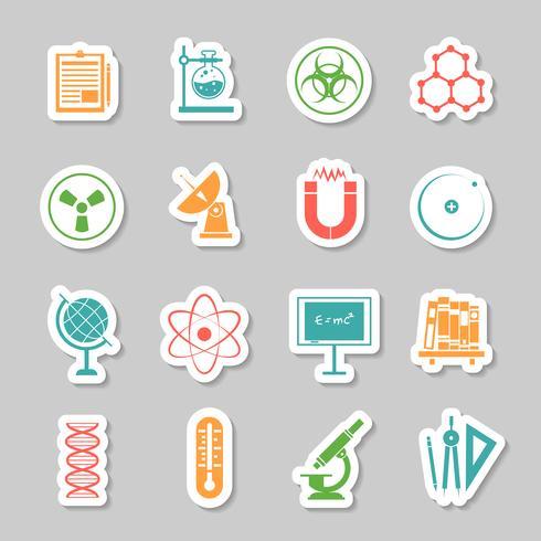 Wissenschaft Aufkleber Icons Set vektor