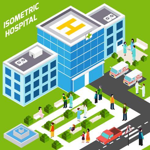 Sjukhusbyggnad isometrisk vektor