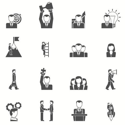 Ledarskap svart vit ikoner uppsättning vektor