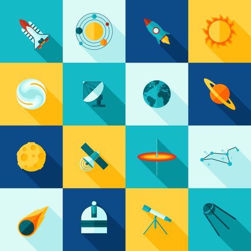 rymd universum långa skuggor ikonuppsättning vektor