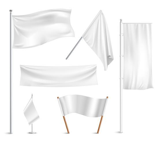 Weiße Flaggen Piktogramme Sammlung vektor