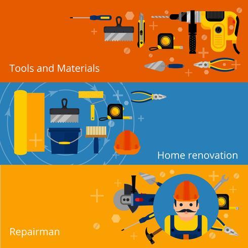 Reparaturen und Renovierungsfahnen für zu Hause vektor