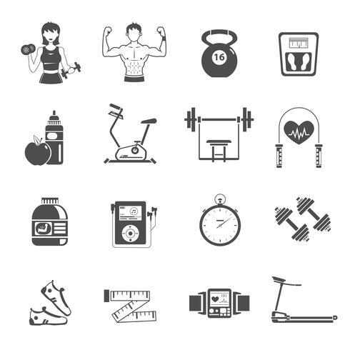 gym ikon svart uppsättning vektor