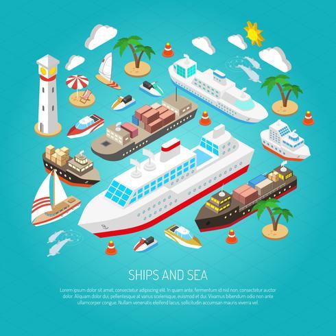 Sea and ships koncept vektor