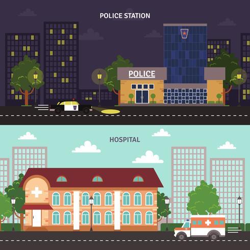 Urban landskap horisontella banderoller uppsättning vektor