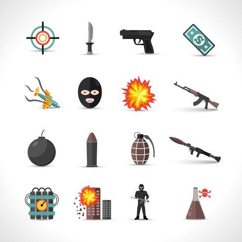 Terrorism Ikoner Set vektor