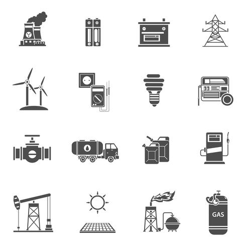 Schwarze Ikonen der Energieenergie eingestellt vektor