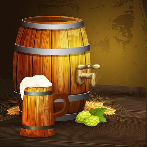 Biereichenbecherfaß-Hintergrundfahne vektor