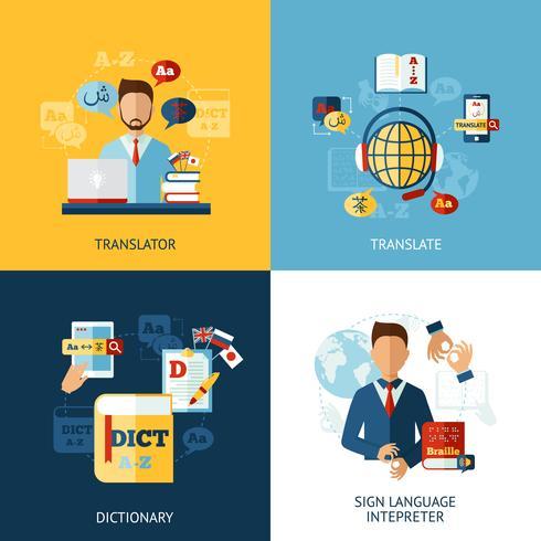 språk översättare uppsättning vektor