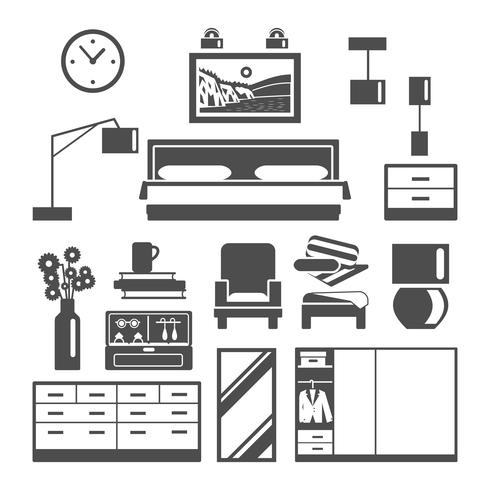 Schlafzimmermöbel Icons Set vektor