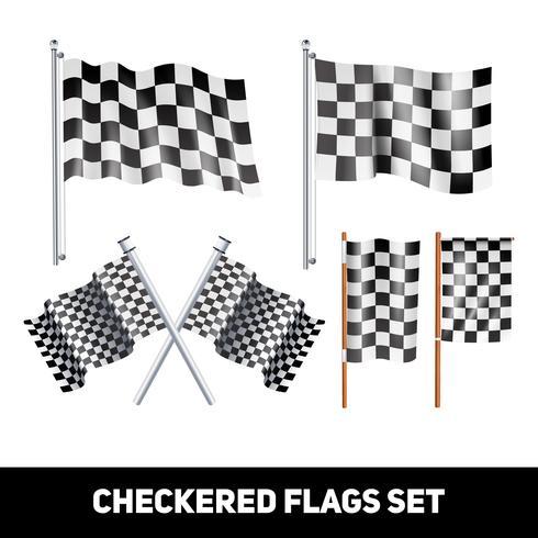 Rutiga flaggor Dekorativa ikonuppsättning vektor