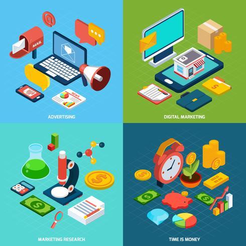 Digital marknadsföring isometrisk vektor