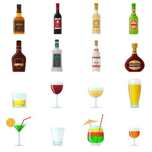 Alkohol platt ikoner vektor