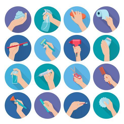 Hand, die Gegenstände flach hält vektor