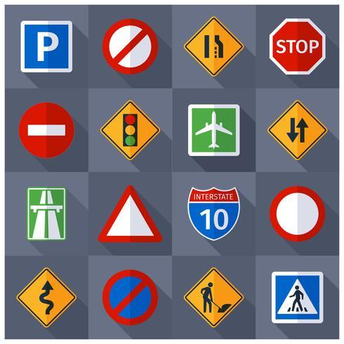 Väg trafiksignaler platt ikoner uppsättning vektor