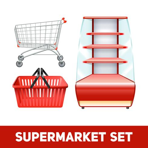 Supermarkt-realistisches Set vektor