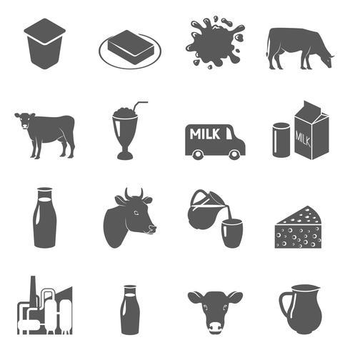 Mjölk svarta ikoner uppsättning vektor