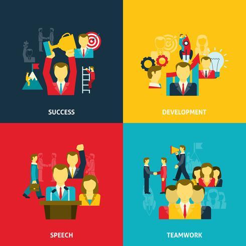 Ledarskap i företagsikoner uppsättning vektor