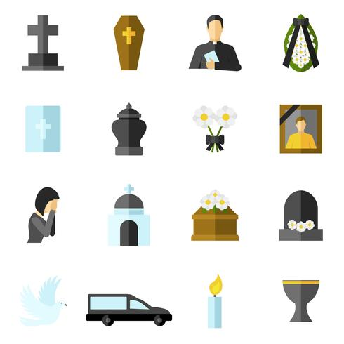 Begravnings platta ikoner vektor