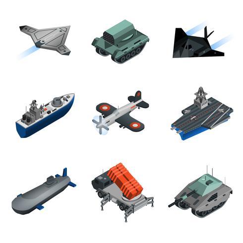 Isometrisk uppsättning militär utrustning vektor