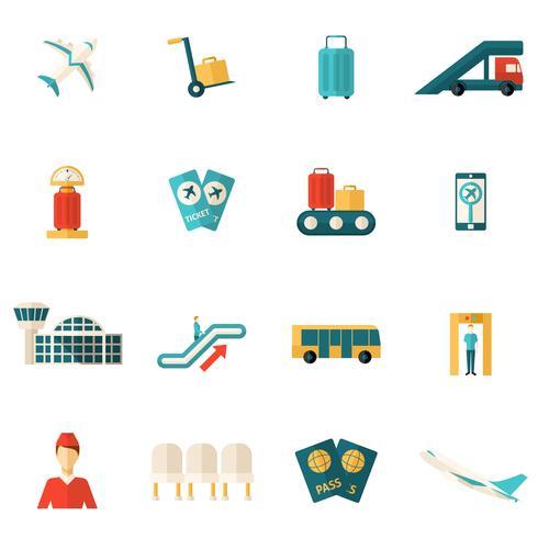 Flughafen-Icons flach vektor