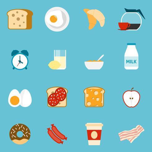 Frukost ikoner uppsättning vektor
