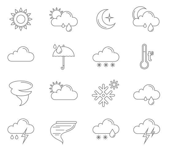 Väder ikoner översikt vektor