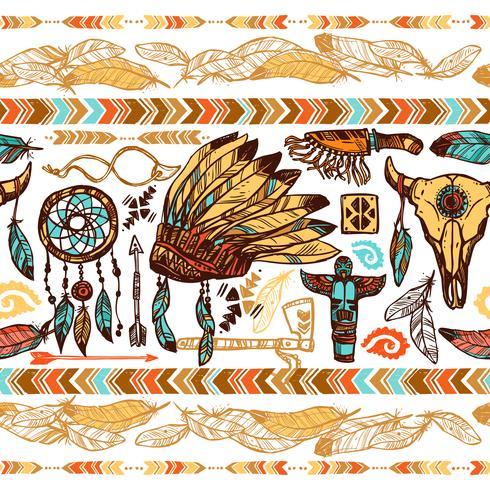indianer sömlösa mönster vektor