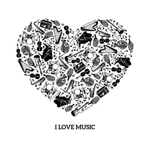 kärlek musik koncept vektor