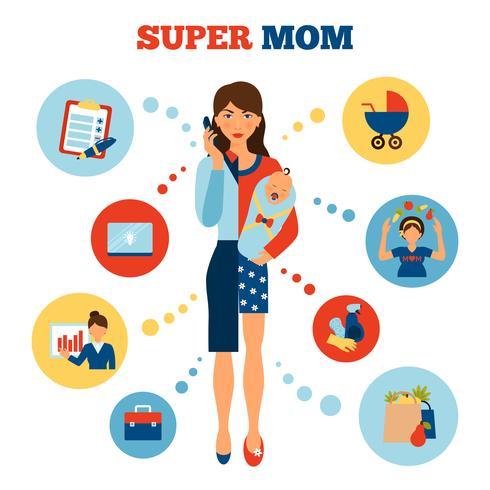 Geschäftsfrau-Mutterkonzept vektor