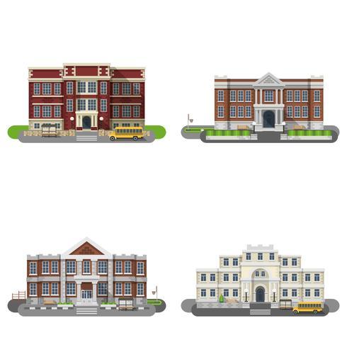 Schulgebäude Flat Set vektor