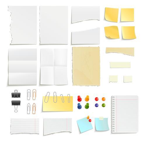 Notizen und Clips-Objektsatz aus Papier vektor