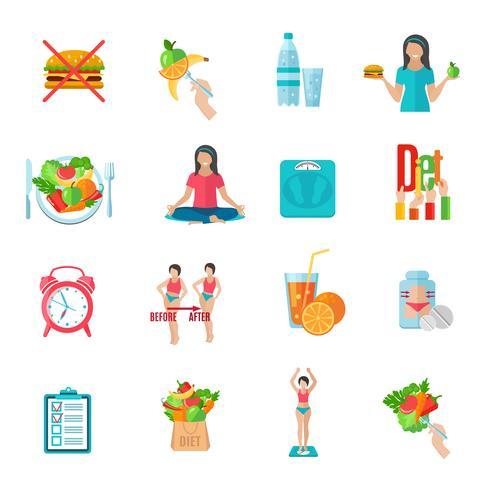 Viktlös dietplatta ikoner uppsättning vektor