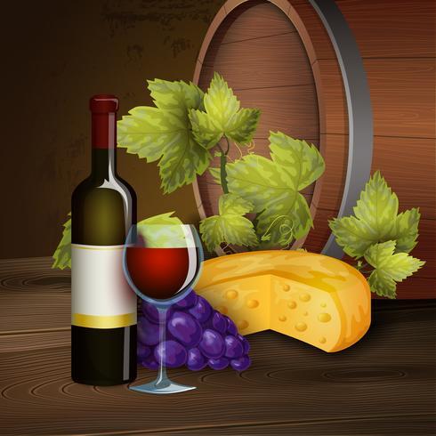 Vinflaska och ekfat bakgrund vektor