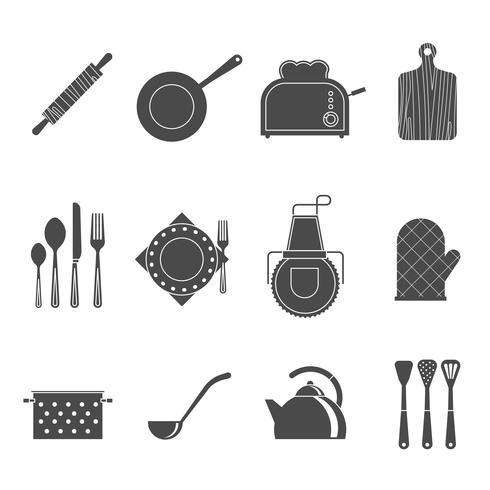 Köksredskap tillbehör svart ikoner uppsättning vektor