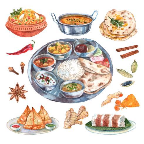 Indisk restaurang livsmedelsingrediens komposition vektor