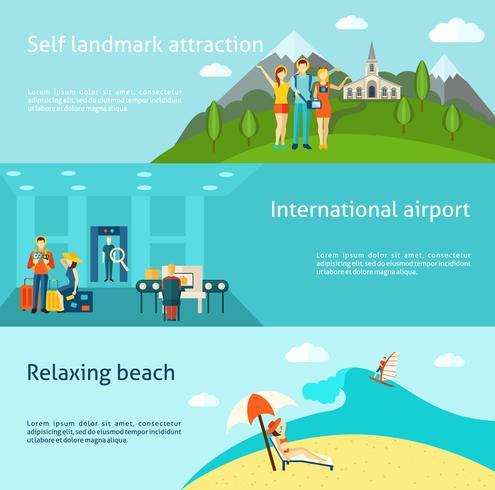 Turism som reser horisontellt platt banners set vektor