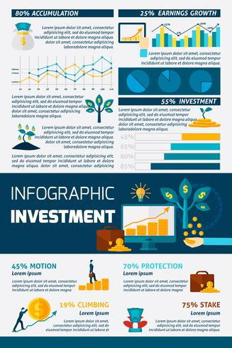 Investering Flat Color Infographic vektor