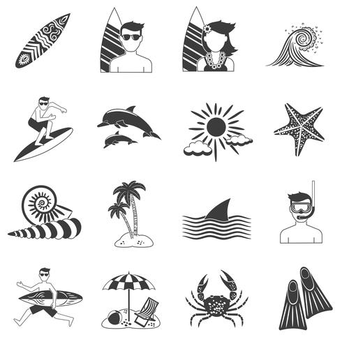 Surfa ikoner Svart vektor