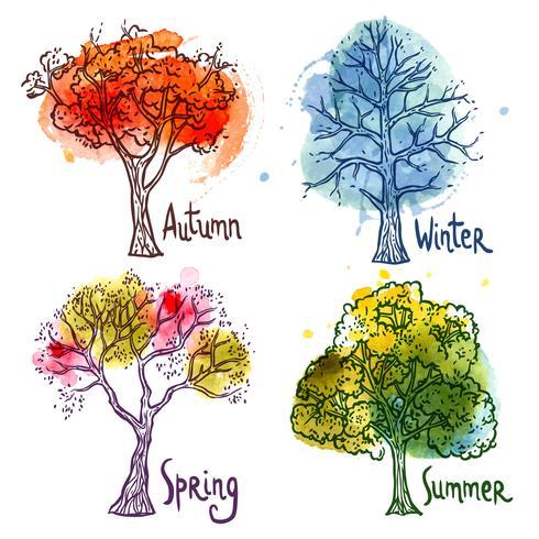 Akvarell träd uppsättning vektor