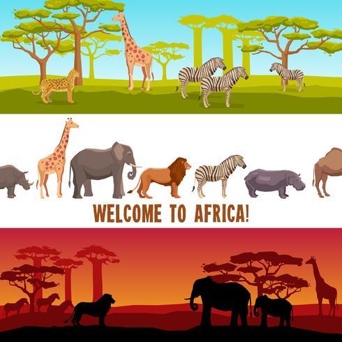 Horisontella afrikanska djur banners set vektor