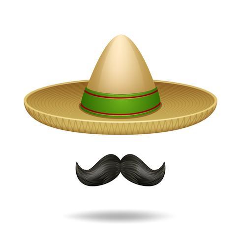 Sombrero und Schnurrbart vektor