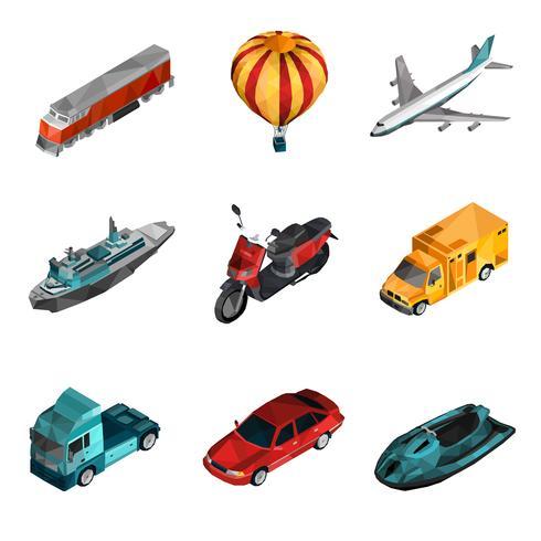 Transport Låg Poly Ikoner vektor