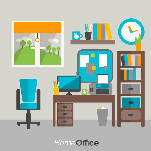 Hem kontor möbler ikonaffisch vektor