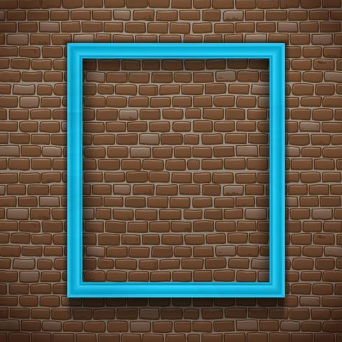 Blå ram på väggen vektor