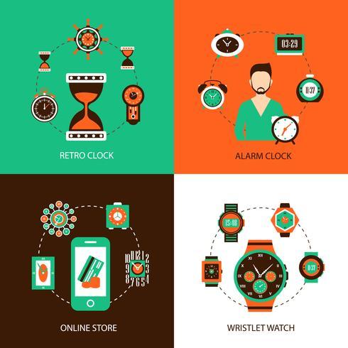 Uhr-Design-Konzept festgelegt vektor